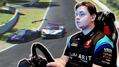 Bobby at the wheel of his virtual race car