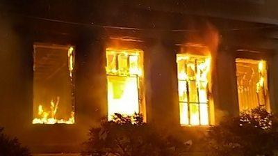Building in fire in Tripoli, Lebanon