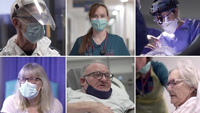 Composite image of medical staff and patients