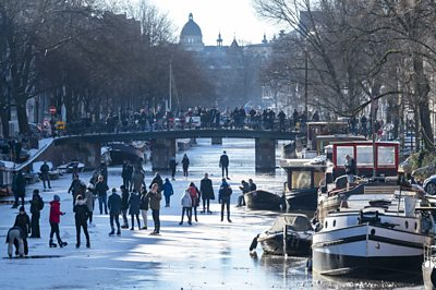 Freezing temperatures in the Netherlands have made its famous waterways ideal for outdoor skating.