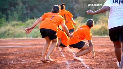 Girls playing Kho Kho