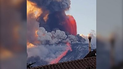 Ash cloud from Mount Etna