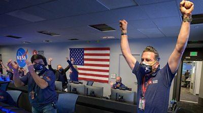 Nasa team members celebrating