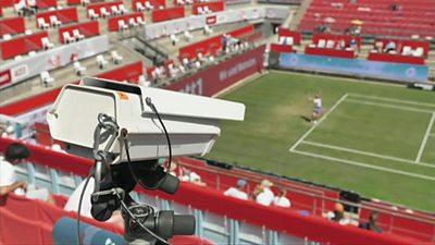 Hawk-eye Live system on a tennis court