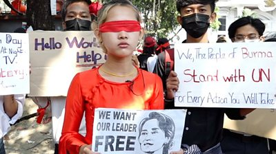 Blind folded protester in Myanmar