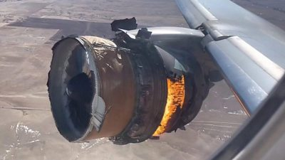 Video shows the engine, which failed shortly after take-off, burning and missing its casing.