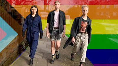 Organisers of Queer House Party walking down the street.
