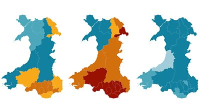 Case rate maps for Covid in Wales
