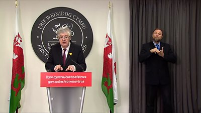Mark Drakeford at the Welsh Government's coronavirus Monday briefing
