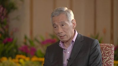 Singapore's Prime Minister Lee Hsien Loong speaking to the BBC