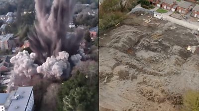 Aerial footage of Exeter bomb exploding
