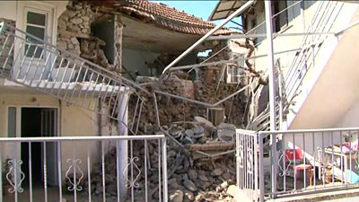 Partially collapsed building in Greece
