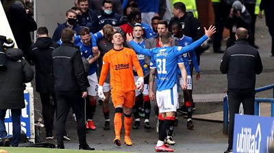 Rangers players celebrate