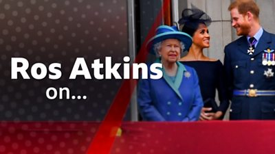 Image reads 'Ros Atkins on..' and shows Queen standing with Prince Harry and Meghan