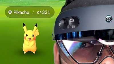 A composition image of Niantic's Pokémon GO game and a man wearing a Microsoft Hololens 2