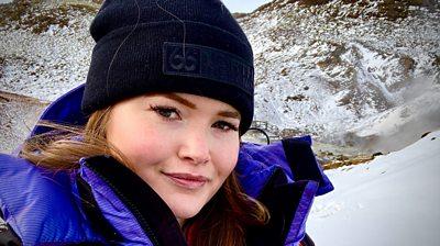Geologist Helga Torfadottir takes a BBC team to an active volcano area.