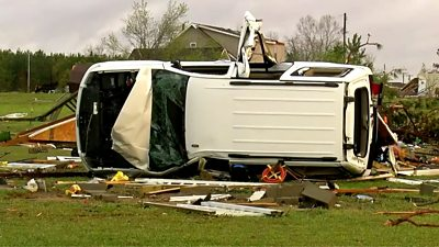 Powerful storms have swept through the region, wrecking havoc in parts of Mississippi and Alabama.