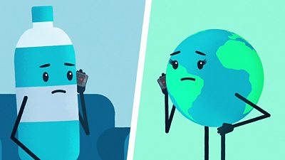 A plastic bottle and Earth animation on the phone breaking up with each other