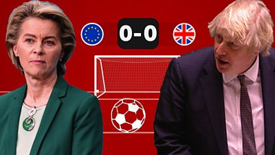 EU Commission President Ursula Von der Leyen and UK Prime Minister Boris Johnson in front of a football goal.