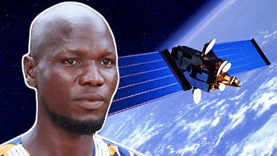 Man and satellite