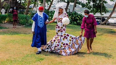 Chioma Inyang in her African wedding gown