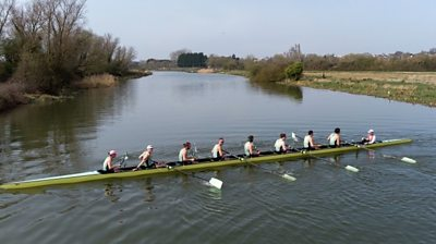 Cambridge crew in training on the Great Ouse