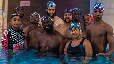 Ed Accura (C) and the cast of Blacks Can't Swim: The Sequel