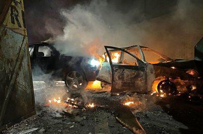 Several police were injured in rioting in west Belfast