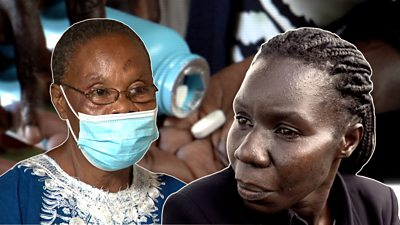 A composite image of two HIV patients
