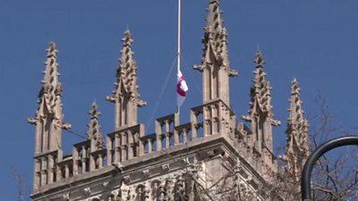 A flag at half-mast at York Minster