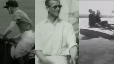 Prince Philip doing various sporting activities