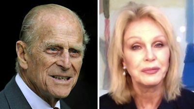 Composite of Prince Philip and Joanna Lumley