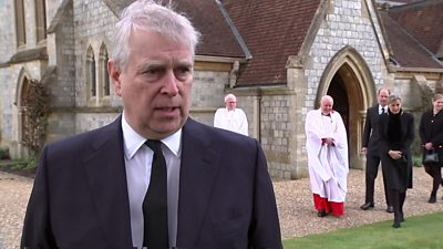 The Duke of York, Prince Andrew, outside the Royal Chapel of All Saints