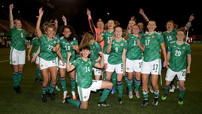 The Northern Ireland players celebrating