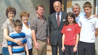 Duke of Edinburgh at the home of Cardigan farmer Phil Reed, with his family