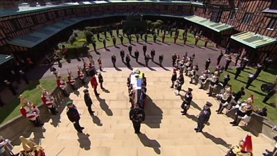 The Queen has led her family in mourning at the funeral of her husband, the Duke of Edinburgh, in the grounds of Windsor Castle.