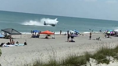 Plane landing in Cocoa Beach, Florida