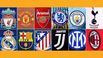 Crests of 12 clubs involved in the proposal