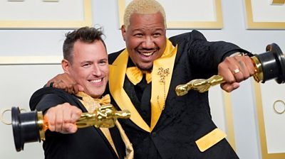 Martin Desmond Roe and Travon Free pose with their Oscars