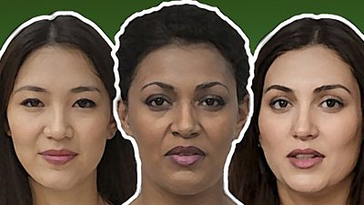 Three AI-generated women