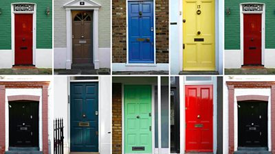 Colourful front doors of homes