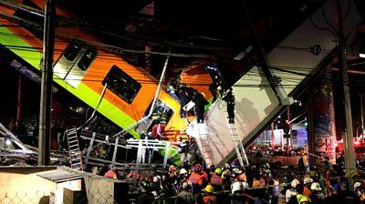 Metro train derails in Mexico City