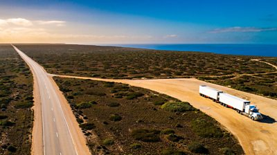 Truck parked on the Nullarbor Plain