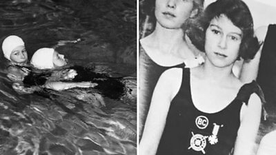 Queen recalls getting junior lifeguard award as teenager