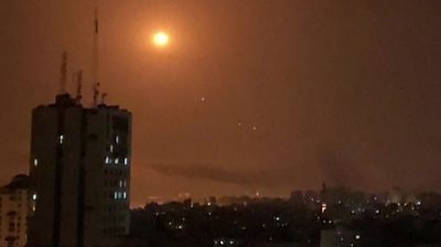 Rockets from Gaza being intercepted by Israel