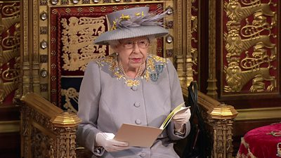 HM The Queens reads her speech in the Lords