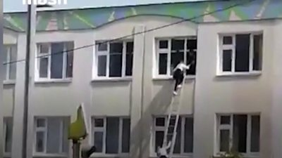 Student escaping from a window