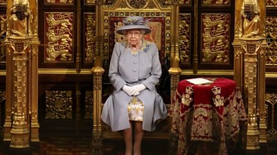 Queen Elizabeth II before she delivers a speech from the throne in House of Lords at the Palace of Westminster