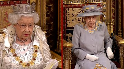 Queen in robes in 2019 and the Queen in day dress in 2021.