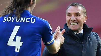 Leicester City manager Brendan Rodgers says he's 'proud of his players' and singled out praise for young goalscorer Luke Thomas after their 2-1 victory over Manchester United.